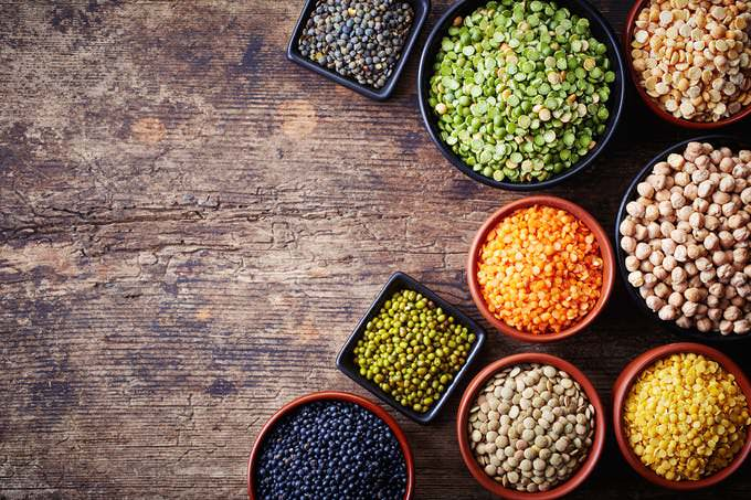 Lentils, red and white beans, split peas
