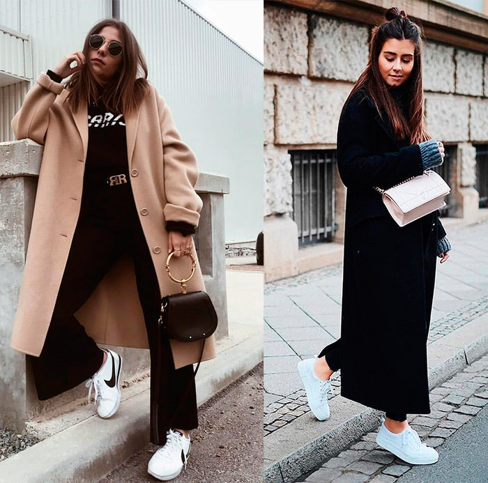 White sneakers and coats